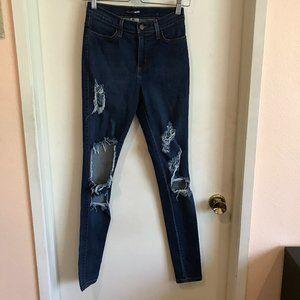 Fashion Nova Dark Blue Wash Distressed Ripped Jean